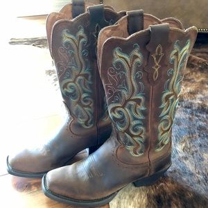 Justin Stampede Embroidered Cowboy Boots 7.5/8
